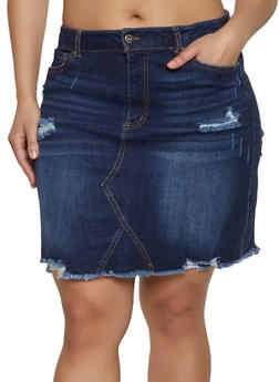 Plus Size WAX Frayed Jean Skirt - 1875071610132