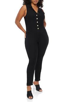 Plus Size Button Front Jumpsuit - 1876056570416