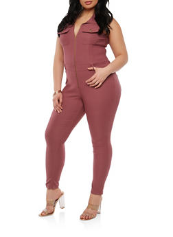 Plus Size Zip Up Stretch Jumpsuit - 1876056571584