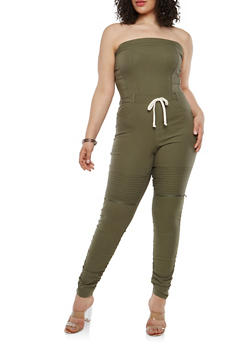 Plus Size Strapless Ruched Leg Jumpsuit - 1876056572445