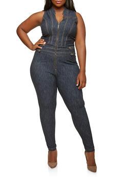 Plus Size Denim Knit Jumpsuit - 1876056574021