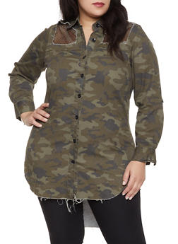 Plus Size Distressed Camo Shirt - 1876063400871