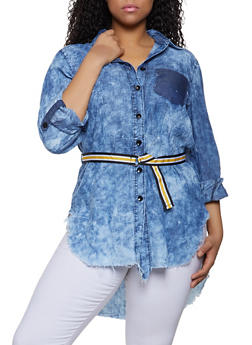 Plus Size Acid Wash Chambray Tunic Top - 1876063400999