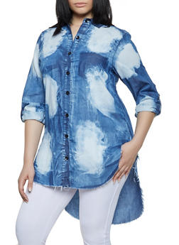 Plus Size Bleached High Low Shirt - 1876063401401