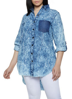 Plus Size Paint Splatter Denim Tunic Shirt - 1876063401402
