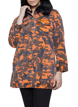 Plus Size Long Denim Camo Jacket - 1876063401407