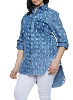 Plus Size Money Print Denim High Low Shirt - 1876063401436