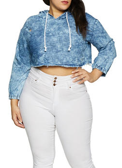 Plus Size Chambray Hooded Crop Top - 1876063401681