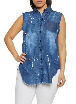 Plus Size Paint Splatter Denim Shirt - 1876063401806