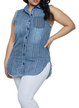 Plus Size Striped Denim Shirt - 1876063402106