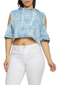 Plus Size Chambray Hooded Cold Shoulder Top - 1876063402113