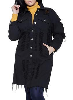 Plus Size Slashed Long Denim Jacket - 1876063403310