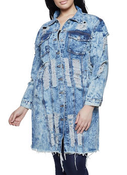 Plus Size Slashed Long Denim Jacket - 1876063403310