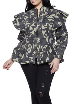 Plus Size Camo Denim Jacket - 1876063403317