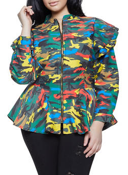 Plus Size Camo Ruffled Shoulder Denim Jacket - 1876063403327