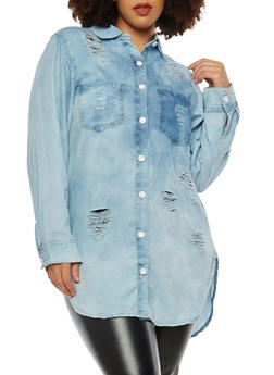 Plus Size Distressed Denim Button Front Tunic Top - 1876063406922