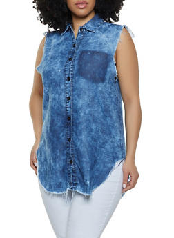 Plus Size Frayed Denim Button Front Shirt - 1876063407337
