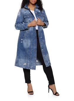 Plus Size Distressed Long Denim Coat - 1876063408473