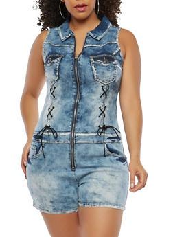 Plus Size Lace Up Denim Romper - 1876065300152