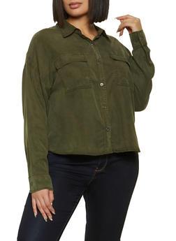 Plus Size Solid Button Front Shirt - 1876069390127