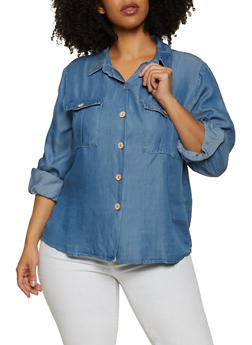 Plus Size Button Front Chambray Shirt - 1876069390440