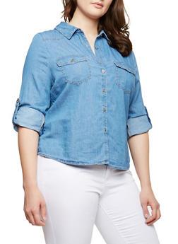 Plus Size Chambray Shirt - MEDIUM WASH - 1876069391012