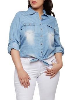 Plus Size Tie Front Denim Button Front Shirt - LIGHT WASH - 1876069391013