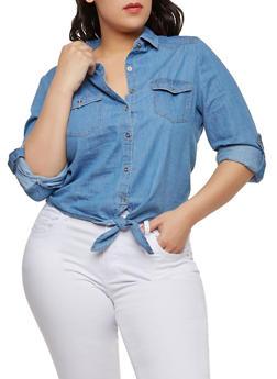 Plus Size Tie Front Denim Button Front Shirt - MEDIUM WASH - 1876069391013