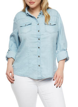 Plus Size Button Front Denim Shirt - LIGHT WASH - 1876071311890
