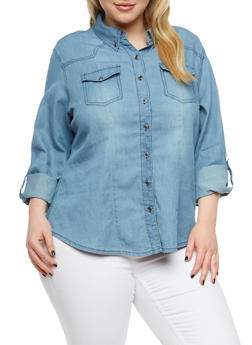 Plus Size Button Front Denim Shirt - MEDIUM WASH - 1876071311890