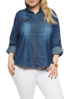 Plus Size Button Front Denim Shirt - DARK WASH - 1876071311890