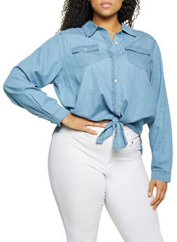 Plus Size Highway Button Front Denim Top - 1876071314810