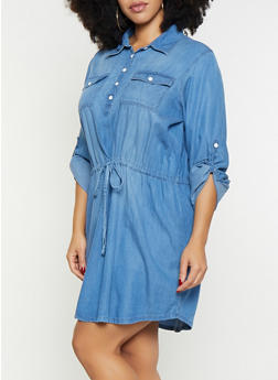 Plus Size Chambray Tabbed Sleeve Dress - 1876071316278
