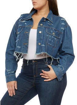 Plus Size Highway Cropped Jean Jacket - 1876071317032