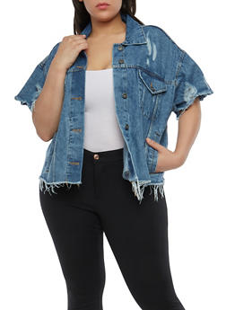 Plus Size Highway Distressed Denim Jacket - 1876071317055