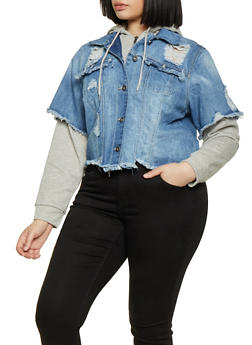 Plus Size Highway Distressed Jean Jacket - 1876071317057