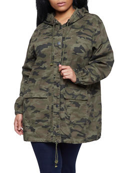 Plus Size Highway Hooded Camo Anorak Jacket - 1876071317111