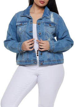 Plus Size Highway Destruction Denim Jacket - 1876071317787