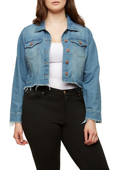 Plus Size Highway Raw Hem Denim Jacket - 1876071317926
