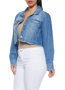 Plus Size Highway Frayed Denim Jacket - 1876071317927