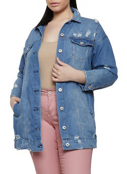 Plus Size Highway Distressed Longline Denim Jacket - 1876071317940