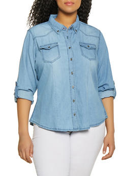 Plus Size Highway Tabbed Sleeve Chambray Shirt - 1876071318094