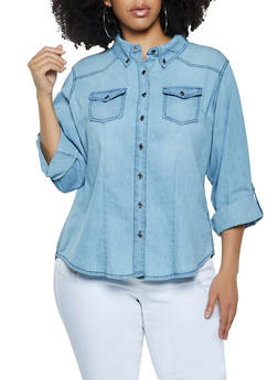 Plus Size Tabbed Sleeve Button Front Denim Shirt - 1876071318191