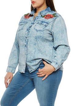Plus Size Acid Wash Floral Embroidered Shirt - 1876071318381