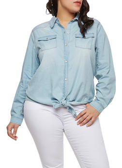 Plus Size Tie Front Denim Top - 1876071318410