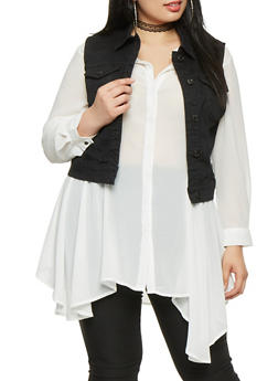 Plus Size WAX Denim Vest - BLACK - 1876071610011