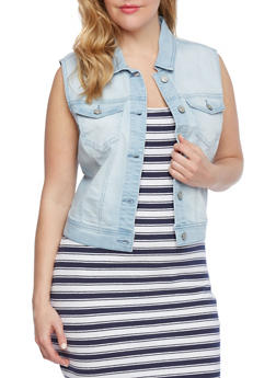 Plus Size WAX Denim Vest - LIGHT WASH - 1876071610011