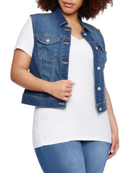Plus Size WAX Denim Vest - 1876071610011