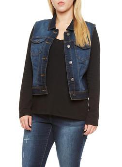Plus Size WAX Jeans Vest with Contrast Stitching - DARK WASH - 1876071610011