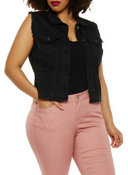 Plus Size WAX Jean High Low Frayed Vest - BLACK - 1876071610073